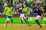 Seattle Sounders Michael Azira (42) controls the ball against the  New England Revolution during an MLS match on March 8, 2015 in Seattle, Washington.  The Sounders beat the Revolution 3-0.  Jim Bryant Photo. ©2015. All Rights Reserved.