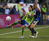 Mauro Rosales, left, of the Seattle Sounders FC gets control of the ball while Justin Morrow of the San Jose Earthquakes defends during play between the Seattle Sounders FC and the San Jose Earthquakes at CenturyLink Field in Seattle Saturday October 15, 2011. The Sounders FC won the game 2-1.