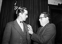 Dr Noel Browne TD Receives a Fainne at Belvedere Hotel.14/11/1953..No&euml;l Christopher Browne (20/12/1915 - 21/05/1997) was an Irish politician and doctor. He holds the distinction of being one of only five Teachta&iacute; D&aacute;la (TDs) to be appointed Minister on their first day in the D&aacute;il. His controversial Mother and Child Scheme in effect brought down the First Inter-Party Government of John A. Costello in 1951..Browne was a well-known but at times highly controversial public representative and managed to be a TD for five different political parties (two of which he co-founded). These were Clann na Poblachta (resigned), Fianna F&aacute;il (expelled), National Progressive Democrats (co-founder), Labour Party (resigned) and the Socialist Labour Party (co-founder)..