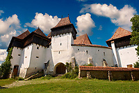 Front view of the Szekly medieval fortified church of Viscri, Buneşti, Braşov, Transylvania. Started in the 1100's. UNESCO World Heritage Site