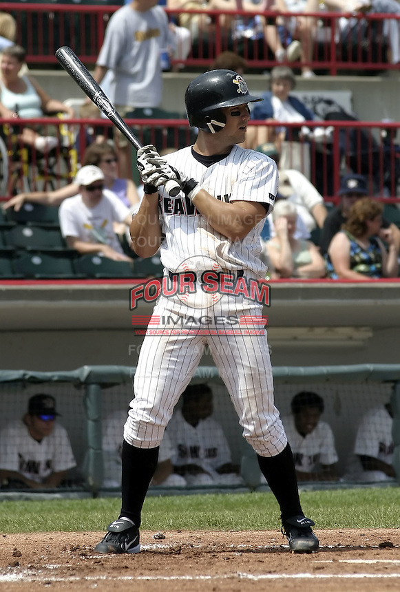 July 29, 2004:  Ryan Raburn of the Erie Seawolves, Eastern League (AA) affiliate of the Detroit Tigers, during a game at Jerry Uht Park in Erie, PA.  Photo by:  Mike Janes/Four Seam Images