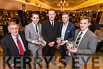 Pictured at the Kerry Supporters Club social at Ballygarry House Hotel & Spa, Tralee on Saturday night last, were l-r: Donal O'Leary (Chairman Kerry Supporters Club),  Marc Ó Sé, Tim Murphy (Chairman Kerry County Board), Tomás Ó Sé and Pádraig Óg Ó Sé.