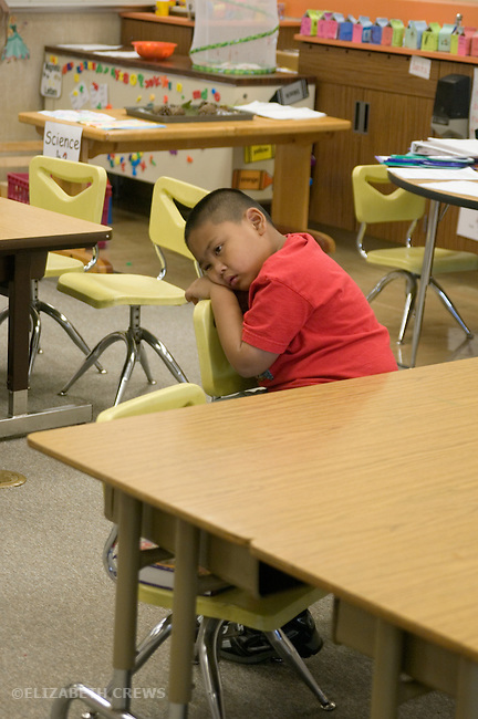 """Alameda CA Kindergarten boy sulking while being place in """"time-out"""" in class"""