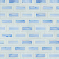 Pandora, a waterjet jewel glass mosaic, is shown in Covellite and Moonstone.