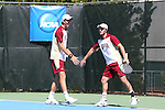 08 May 2015: Jesse Ruder-Hook (left) and David Fox (right). The University of Denver Pioneers played the Mississippi State University Bulldogs at Cone-Kenfield Tennis Center in Chapel Hill, North Carolina in a 2015 NCAA Division I Men's Tennis Tournament First Round match. MSU won the match 4-3.