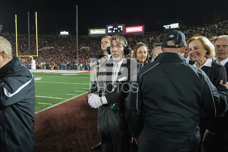 Pasadena, CA - Friday January 1, 2016: The Rose Bowl Trophy is brought out to the awards ceremony after the Bowl game on New Year's Day in Pasadena, California.<br /> <br /> Stanford defeated Iowa 45 to 16.