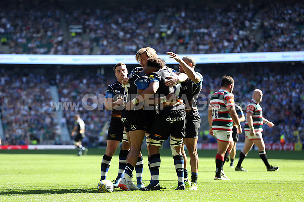 Anthony Watson celebrates his try with team-mates. The Clash, Aviva Premiership match, between Bath Rugby and Leicester Tigers on April 8, 2017 at Twickenham Stadium in London, England. Photo by: Rogan Thomson / JMP for Onside Images