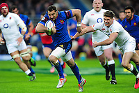 Scott Spedding of France looks to get past Owen Farrell of England. RBS Six Nations match between France and England on March 19, 2016 at the Stade de France in Paris, France. Photo by: Patrick Khachfe / Onside Images