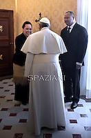 Pope Francis and Tonga's King Ahoeitu Unuakiotonga Tukuaho Tupou VI during a private audience at the Vatican, on February 16, 2015.