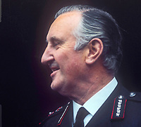 Sir Arthur Young, Commissioner of the City of London Police, who was seconded in 1969 to the RUC, Royal Ulster Constabulary, to implement the Hunt Report, which introduced the standard British rank system for police officers in Northern Ireland. Young had the distinction of being the RUC's last Inspector-General and its first Chief Constable. November 1969. 196911000258c<br /> <br /> Copyright Image from Victor Patterson, 54 Dorchester Park, Belfast, UK, BT9 6RJ<br /> <br /> t1: +44 28 9066 1296<br /> t2: +44 28 9002 2446<br /> m: +44 7802 353836<br /> <br /> e1: victorpatterson@me.com<br /> e2: victorpatterson@gmail.com<br /> <br /> IMPORTANT: My Terms and Conditions of Business are at www.victorpatterson.com