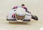 9 January 2016: Hiroatsu Takahashi, competing for Japan, slides into the track for his first run of the BMW IBSF World Cup Skeleton race at the Olympic Sports Track in Lake Placid, New York, USA. Takahashi ended the day with a combined 2-run time of 1:51.14 and a 15th place overall finish. Mandatory Credit: Ed Wolfstein Photo *** RAW (NEF) Image File Available ***