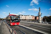 City bus crosses Djurgårdsbron to Djurgården, Stockholm, Sweden