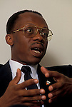 Jean Bertrand Aristide, former president of Haiti, during his exile in Washington, DC in 1994. Photo date: 13 June 1994