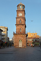 Historical clock tower in Canakkale town centre, Turkey. Canakkale is on the southern (Asian) coast of the Dardanelles. The clock tower or Saat Kulesi is a five story Ottoman construction near the harbour and was built in 1897. It was paid for by an Italian consul and Canakkale merchant who left 100,000 gold francs in his will for this purpose. Picture by Manuel Cohen