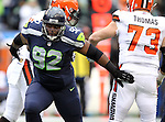 Seattle Seahawks defensive tackle Brandon Mebane (92) celebrates after sacking Cleveland Browns quarterback Johnny Manizel (2) at CenturyLink Field in Seattle, Washington on December 20, 2015. The Seahawks clinched their fourth straight playoff berth in four seasons by beating the Browns 30-13.  ©2015. Jim Bryant Photo. All Rights Reserved.