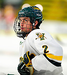 12 December 2009: University of Vermont Catamount defenseman Drew MacKenzie, a Sophomore from New Canaan, CT, warms up prior to a game against the St. Lawrence University Saints at Gutterson Fieldhouse in Burlington, Vermont. The Catamounts shut out their former ECAC rival Saints 3-0. Mandatory Credit: Ed Wolfstein Photo