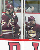 Chris Calnan (BC - 11), Casey Fitzgerald (BC - 5) - The Harvard University Crimson defeated the visiting Boston College Eagles 5-2 on Friday, November 18, 2016, at Bright-Landry Hockey Center in Boston, Massachusetts.{headline] - The Harvard University Crimson defeated the visiting Boston College Eagles 5-2 on Friday, November 18, 2016, at Bright-Landry Hockey Center in Boston, Massachusetts.