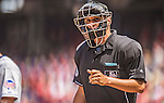 28 July 2013: MLB Umpire Vic Carapazza works home plate during a game between the New York Mets and the Washington Nationals at Nationals Park in Washington, DC. The Nationals defeated the Mets 14-1. Mandatory Credit: Ed Wolfstein Photo *** RAW (NEF) Image File Available ***