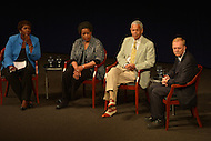 June 5, 2013  (Washington, DC)  Gwen Ifill (l), host of PBS News Hour, moderates a panel discussion at the Newseum on the 50th anniversary of assassination of civil rights activist Medgar Evers. (c-r) Mrylie Evers, Julian Bond and Jerry Mitchell during   (Photo by Don Baxter/Media Images International)
