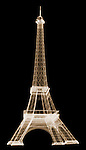 X-ray image of a model Eiffel tower (color on black) by Jim Wehtje, specialist in x-ray art and design images.