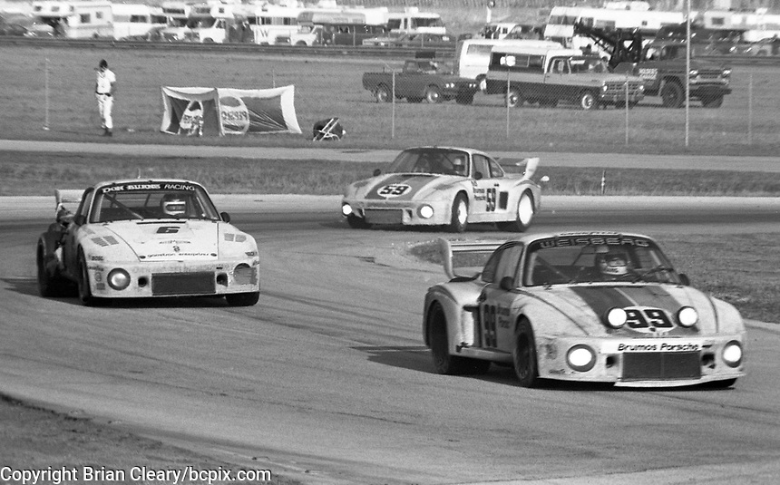 The #99 Porsche 935-77a of Rolf Stommelin, Toine Hezemans, and Peter Gregg races through a turn en route to victory in the 24 Hours of Daytona at Daytona Internatonal Speedway, Daytona Beach, FL, February 4-5, 1978.  (Photo by Brian Cleary/www.bcpix.com)