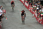 Greg Van Avermaet BMC Racing Team and Tim Wellens (BEL) Lotto-Soudal approach the finish line in 2nd and 3rd places at the end of the 2017 Strade Bianche running 175km from Siena to Siena, Tuscany, Italy 4th March 2017.<br /> Picture: Sabine Zwicky/Radsport.ch | Newsfile<br /> <br /> <br /> All photos usage must carry mandatory copyright credit (&copy; Newsfile | Sabine Zwicky/Radsport.ch)