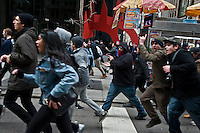 Protestors block the street as they park during a protest against  Republican Presidential candidate Donald Trump in New York City 13.19.2016. Joana Toro/VIEWpress.