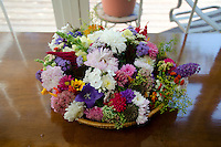 Individual bouquets in basket ready for delivery