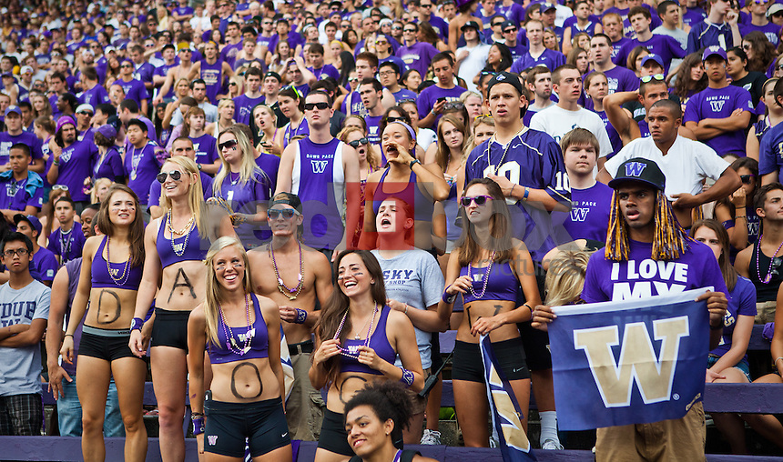 Fans, co-eds, dawgs, female football fans..---------University of Washington (UW) vs. University of California-Berkley (Cal) at Husky Stadium on Saturday, September 24, 2011. (Photo by Dan DeLong/Red Box Pictures)