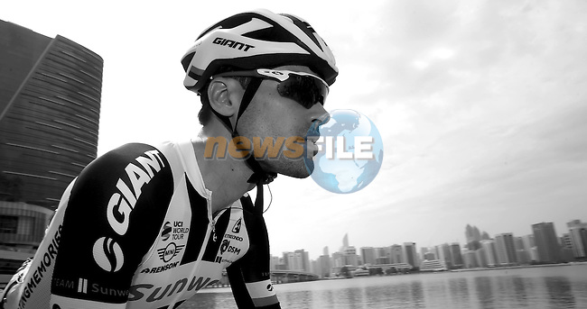 Tom Dumoulin (NED) Sunweb at sign on before the start of Stage 2 the Nation Towers Stage of the 2017 Abu Dhabi Tour, running 153km around the city of Abu Dhabi, Abu Dhabi. 24th February 2017<br />