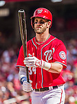 28 September 2014: Washington Nationals outfielder Bryce Harper steps up to bat in the second inning against the Miami Marlins at Nationals Park in Washington, DC. The Nationals shut out the Marlins 1-0, caping the season with the first Nationals no-hitter in modern times. The win also notched a 96 win season for the Nats: the best record in the National League. Mandatory Credit: Ed Wolfstein Photo *** RAW (NEF) Image File Available ***