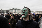 A greenfaced protester yells from teh top of his lungs against corruption in Russia, a protest organised by Russia oppositional Alexsei Navalny in Saint Petersburg and the rest of Russia on the 26.03.2017. The green face expresses soldiarity with Navalny as he was attacked with green pinter colour last week With thouasands particpating these are the biggest demonstrations in Russia since 2011.