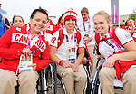 LONDON, ENGLAND – 08/26/2012:  Jamey Jewells, Cindy Ouellet and Maude Jacques at Canada's Flag Raising Ceremony at the London 2012 Paralympic Games. (Photo by Matthew Murnaghan/Canadian Paralympic Committee)