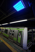 Blue LED lights installed at Shinjuku station in an effort to decrease suicides by jumping under trains. The blue lights were installed on all 29 stations of the Tokyo Loop (Yamanote) Line in 2008. The blue lights are meant to calm and soothe potential jumpers though there is little scientific evidence for this. Japan has one of the highest suicide rates in the world which the recent economic crisis has exacerbated. Shinjuku Station, Tokyo, Japan. Shinjuku, Tokyo, Japan. Tuesday JUne 26th 2012