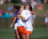 Danielle Colaprico (24) celebrates her goal with teammate Brittany Ratcliffe (11) at Klockner Stadium in Charlottesville, VA.  Virginia defeated Clemson, 3-0.