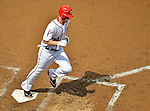 15 May 2012: Washington Nationals outfielder Bryce Harper crosses the plate after hitting his second career home run, a solo shot against the San Diego Padres at Nationals Park in Washington, DC. The Padres defeated the Nationals 6-1 to split their 2-game series. Mandatory Credit: Ed Wolfstein Photo