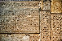 Lombard relief sculpted panels in The 8th century Romanesque Basilica church of St Peters, Tuscania, Lazio, Italy