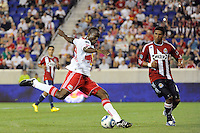Ibrahim Salou (29) of the New York Red Bulls plays the ball. The New York Red Bulls defeated Chivas USA 1-0 during a Major League Soccer (MLS) match at Red Bull Arena in Harrison, NJ, on June 5, 2010.