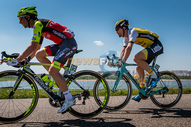 Breakaway with TJALLINGII Maarten from the Netherlands of Team Lotto NL - Jumbo (NED) on the Waaldijk at Gendt with 180 km to go, stage 3 from Nijmegen to Arnhem running 190 km of the 99th Giro d'Italia (UCI WorldTour), The Netherlands, 8 May 2016. Photo by Pim Nijland / PelotonPhotos.com   All photos usage must carry mandatory copyright credit (Peloton Photos   Pim Nijland)