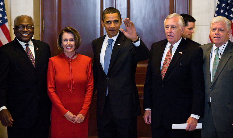 WASHINGTON, DC - Nov. 07: House Majority Whip James E. Clyburn, D-S.C., House Speaker Nancy Pelosi, D-Calif., President Barack Obama, House Majority Leader Steny Hoyer, D-Md., and House Democratic Caucus Chairman John B. Larson, D-Conn., appear after Obama spent a half-hour with House Democrats during a closed-door caucus meeting, providing the surest sign yet that the majority has lined up sufficient votes to pass a landmark health care overhaul measure. (Photo by Scott J. Ferrell/Congressional Quarterly)
