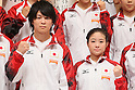 (L to R) Kohei Uchimura (JPN), Koko Tsurumi (JPN), September 12, 2011 - Artistic Gymnastics : Kohei Uchimura and Koko Tsurumi attend press conference in Tokyo, Japan, regarding the Artistic Gymnastics World Championships 2011 Tokyo. (Photo by Yusuke Nakanishi/AFLO SPORT) [1090]