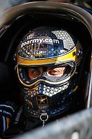 Feb 12, 2017; Pomona, CA, USA; NHRA top fuel driver Tony Schumacher during the Winternationals at Auto Club Raceway at Pomona. Mandatory Credit: Mark J. Rebilas-USA TODAY Sports