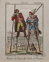 Sharecropper and Shepherd from the Landes region on stilts, from the Bordeaux region, by Jacques Grasset de Saint Sauveur, 1757-1810, from the 'Gens du Petit Peuple', late 18th century, in the Musee d'Aquitaine, Cours Pasteur, Bordeaux, Aquitaine, France. The Landes region was marshy and boggy, and peasants in the area often used stilts to walk from place to place. Picture by Manuel Cohen