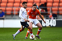 Blackpool's Clark Robertson competes with Luton Town's Lawson D'Ath<br /> <br /> Photographer Richard Martin-Roberts/CameraSport<br /> <br /> The EFL Sky Bet League Two Play-Off Semi Final First Leg - Blackpool v Luton Town - Sunday May 14th 2017 - Bloomfield Road - Blackpool<br /> <br /> World Copyright &copy; 2017 CameraSport. All rights reserved. 43 Linden Ave. Countesthorpe. Leicester. England. LE8 5PG - Tel: +44 (0) 116 277 4147 - admin@camerasport.com - www.camerasport.com