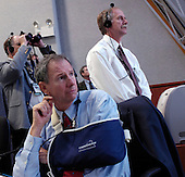 "NASA Administrator, Michael Griffin (foreground) watches the launch of the Space Shuttle Endeavour (STS-118) from the Launch Control Center Wednesday, August 8, 2007, at the Kennedy Space Center in Cape Canaveral, Fla. The Shuttle lifted off from launch pad 39A at 6:36p.m. EDT. Photo Credit: ""NASA/Bill Ingalls"""