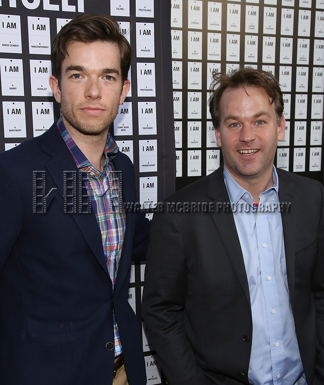 John Mulaney and Mike Birbiglia attends the Opening Night 'In & Of Itself' at the Daryl Roth Theatre on April 12, 2017 in New York City