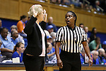 14 December 2015: Referee Angela Lewis (right) and UMass head coach Sharon Dawley (left). The Duke University Blue Devils hosted the University of Massachusetts Minutewomen at Cameron Indoor Stadium in Durham, North Carolina in a 2015-16 NCAA Division I Women's Basketball game. Duke won the game 70-46.