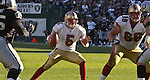 San Francisco 49ers quarterback Jeff Garcia (5) gets ready to pass down the field on Sunday, November 3, 2002, in Oakland, California. The 49ers defeated the Raiders 23-20 in an overtime game.