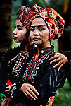 Two members of the Ramon Obusan troupe wait backstage to perform Yakan dances in Basilan, Philippines, 1985.<br />
