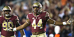 Florida State defensive end DeMarcus Walker celebrates a quarterback sack in the second half of an NCAA college football game in Tallahassee, Fla., Saturday, Nov. 26, 2016. Florida State defeated Florida 33-13.  (AP Photo/Mark Wallheiser)